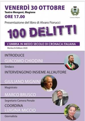 """Presentazione online, pagina Fb Magione cultura, del libro di Alvaro Fiorucci """"100 delitti. L'Umbria in mezzo secolo di cronaca italiana"""""""
