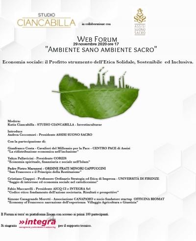 """Domani 5/a edizione ad Assisi (su piattaforma Zoom) di """"Ambiene Sano Ambiente Sacro"""""""