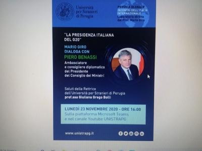 Universita' per Stranieri: Conferenza on-line dell'Ambasciatore Piero Benassi