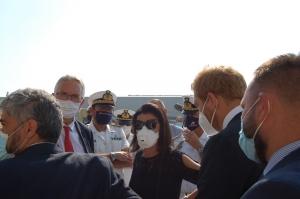 Il presidente Ceriscioli sul luogo dell'incendio al porto di Ancona