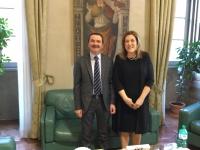 Presidente Marini saluta Questore di Perugia Giuseppe Bisogno che andra' a Bari