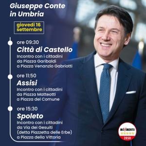 M5S: Giuseppe Conte domani 16 in Umbria a Città di Castello, Assisi e Spoleto.