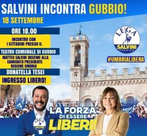 Regionali: Salvini in Umbria: doppio appuntamento, domani a Gubbio e giovedì 19  a Gualdo Tadino