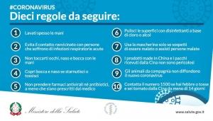 Coranavirsu: i dieci comportamenti da seguire. Test solo a chi hja sintomi