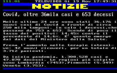 Coronavirus/Italia: contagiati a 36.176 oggi; in calo deceduti, 653