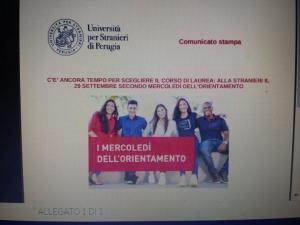 """Universita' per stranieri: mercoledi' 29 secondo appuntamento su """"Orientamento"""""""